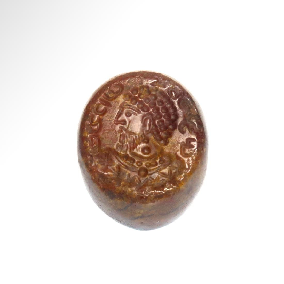 Sassanian Agate Seal, Portrait of a King & Inscription