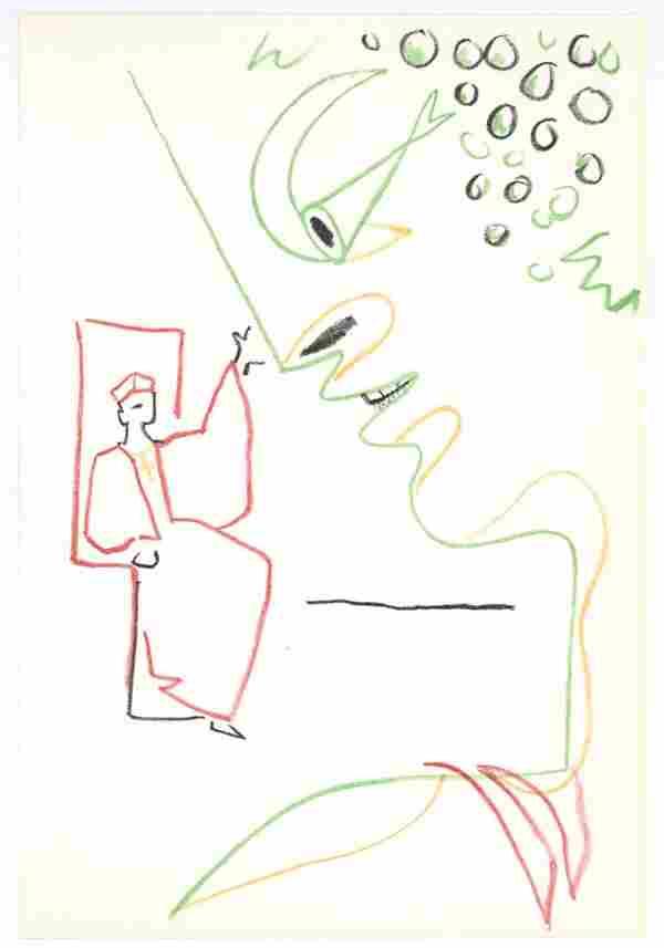Jean Cocteau original lithograph   Theatre de Poche