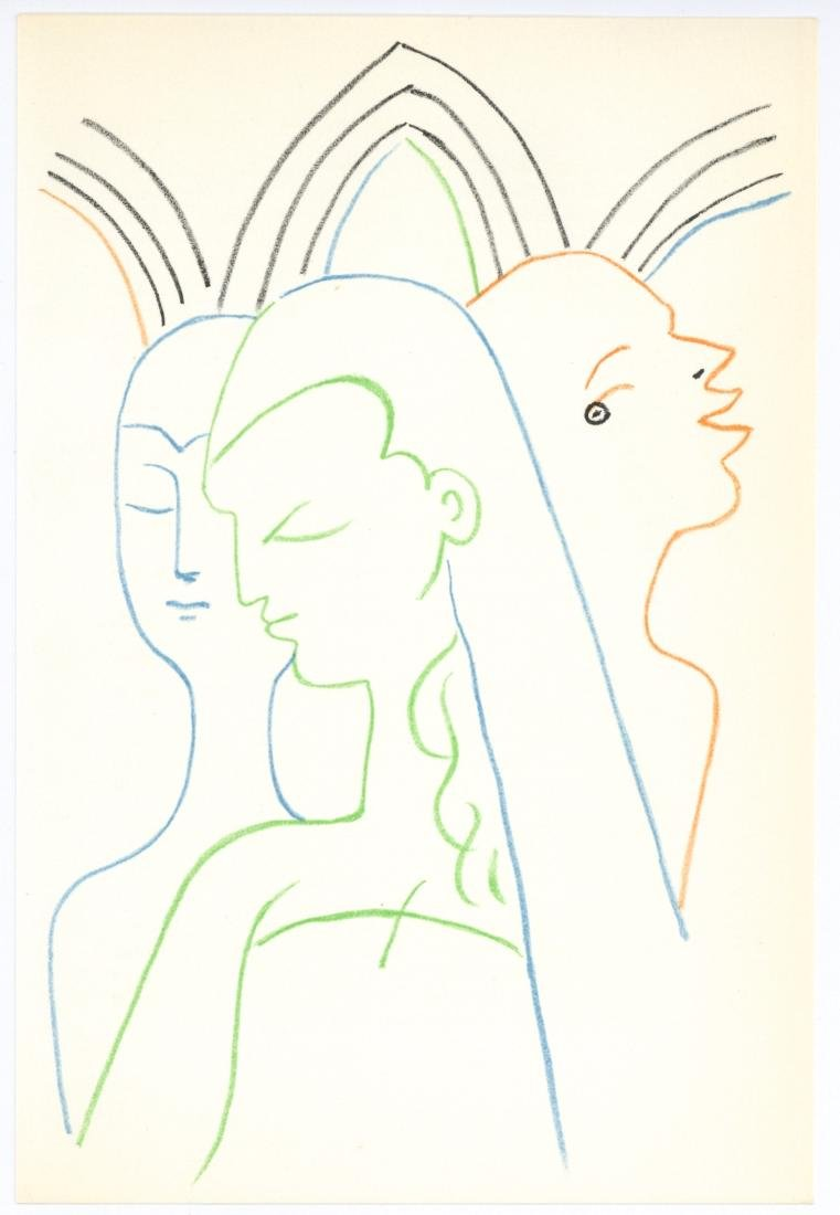 Jean Cocteau original lithograph   Knights of the Round