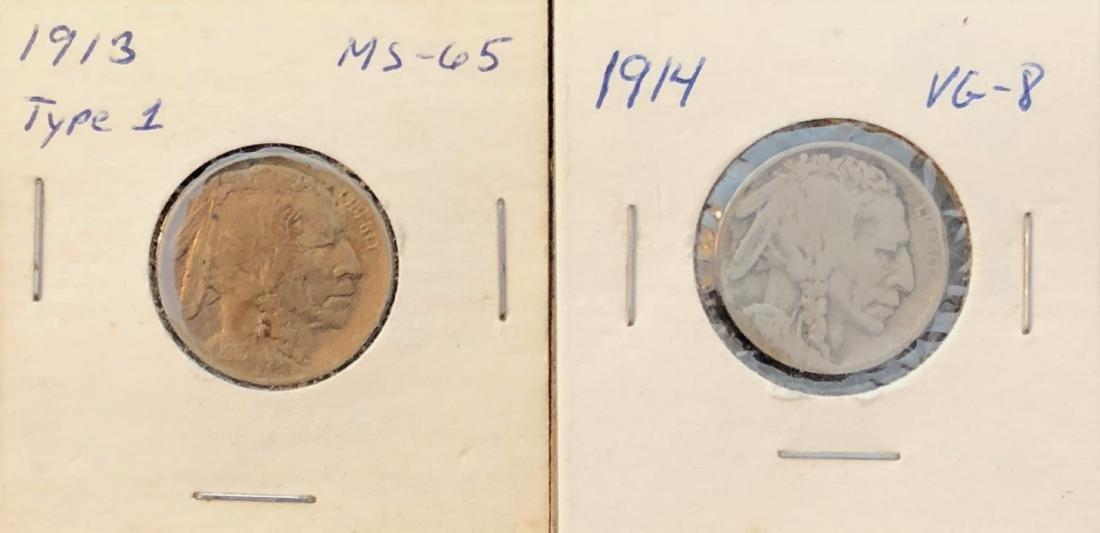 1913 & 1914 Buffalo Nickles
