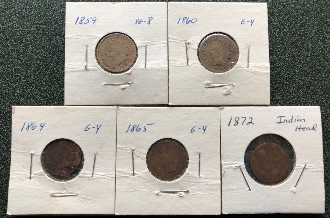 5 Indian Head Cents 1859 - 1860 - 1864 - 1865 - 1872