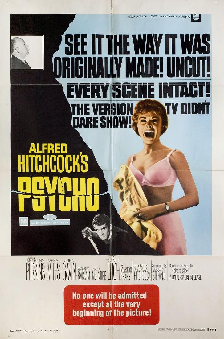 Psycho R1969 U.S. One Sheet Poster