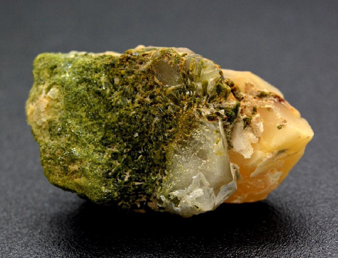 35 Gram A Rare Bone Quartz With Green Epidote Specimen - 4