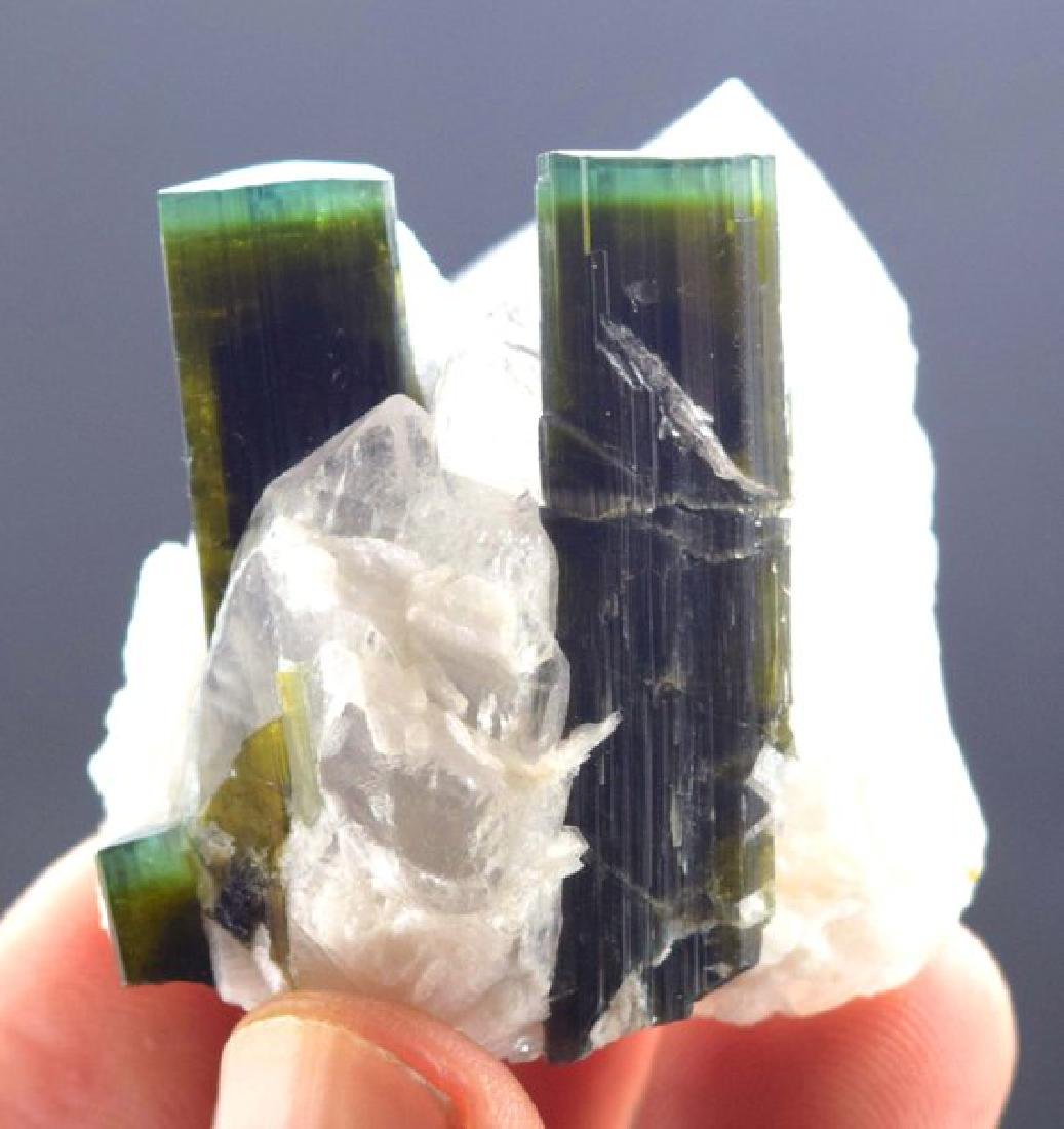 44 Gram Terminated Green Cap Tourmaline Crystals with - 5