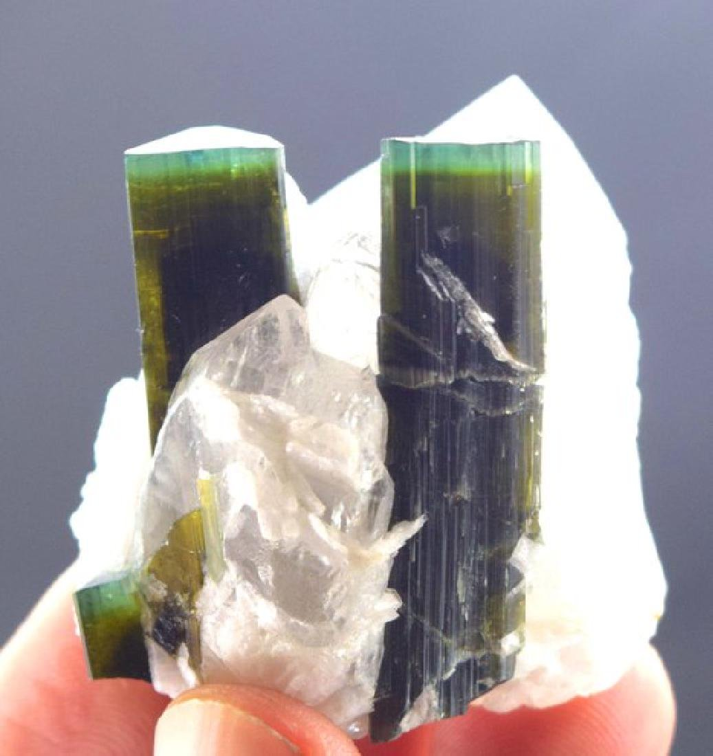 44 Gram Terminated Green Cap Tourmaline Crystals with - 7