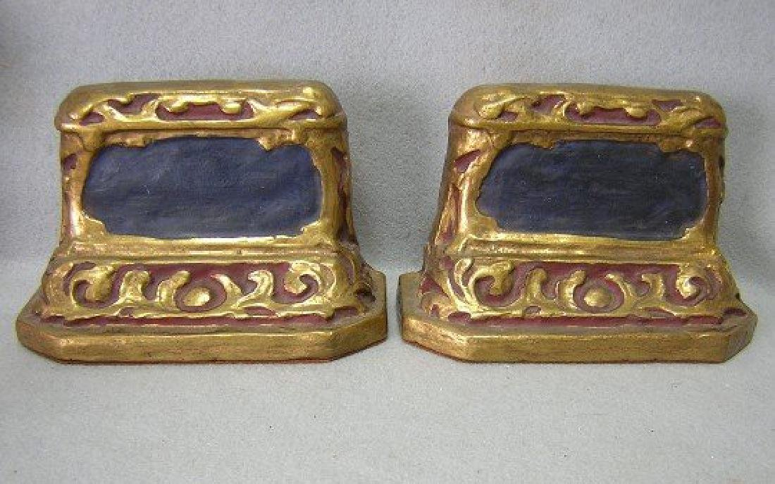 Antique Arts & Crafts, Art Nouveau Bookends by Borghese