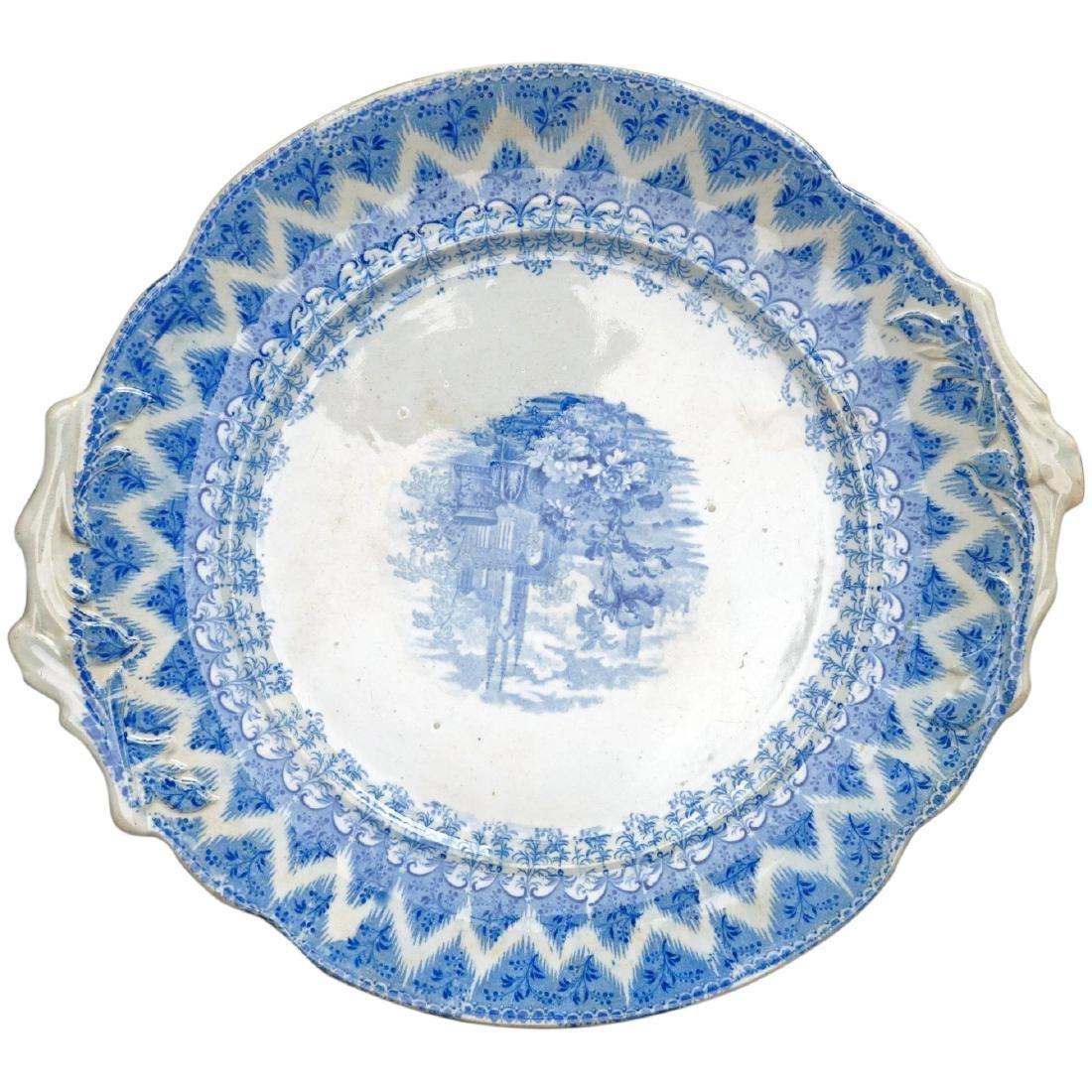Large Staffordshire Transferware Platter of Churchyard