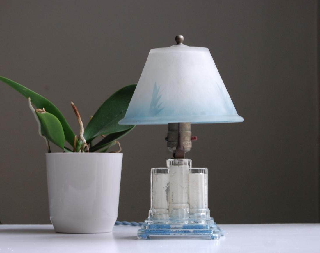 Blue Glass Bedside Lamp - 2