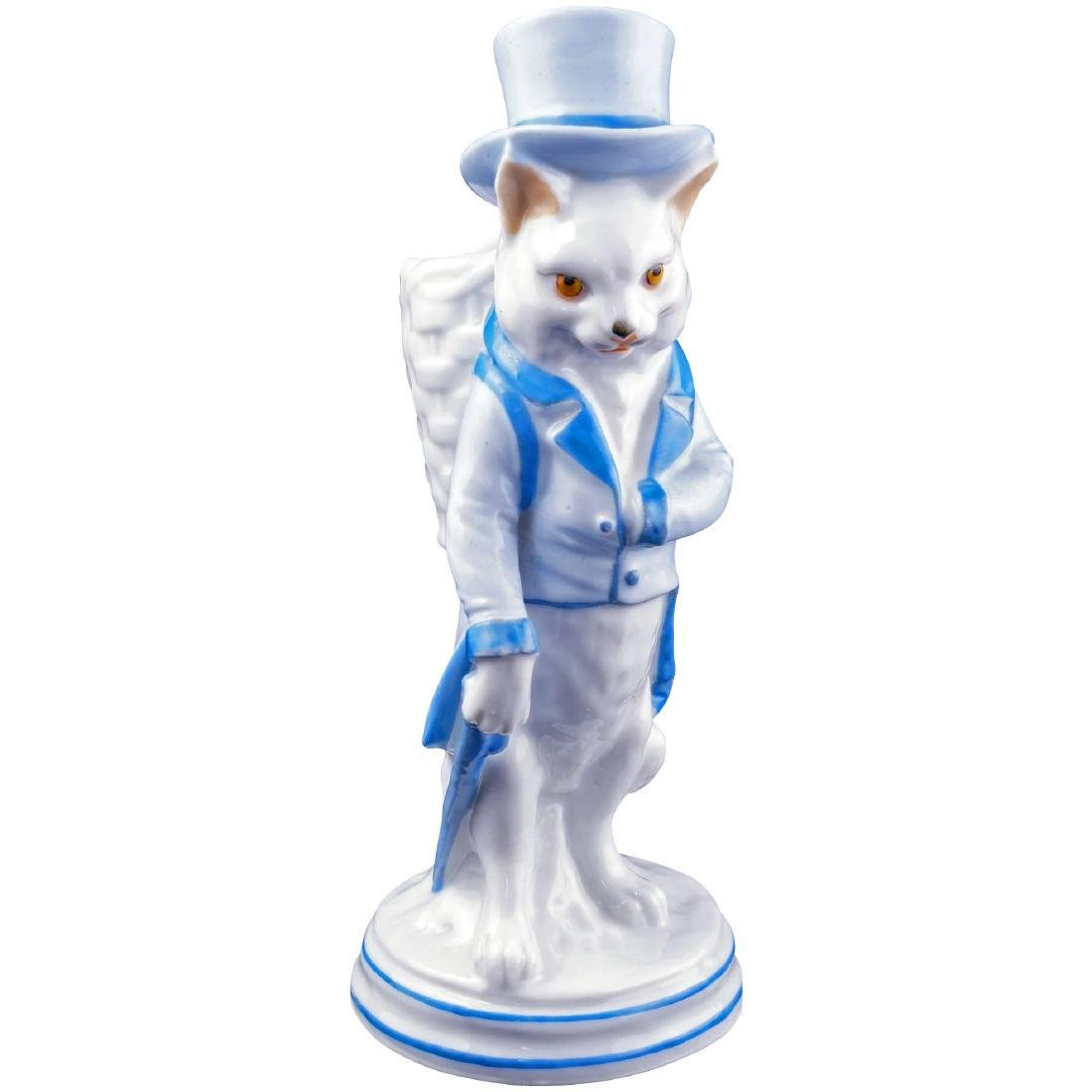 Antique German porcelain figure of gentleman cat match