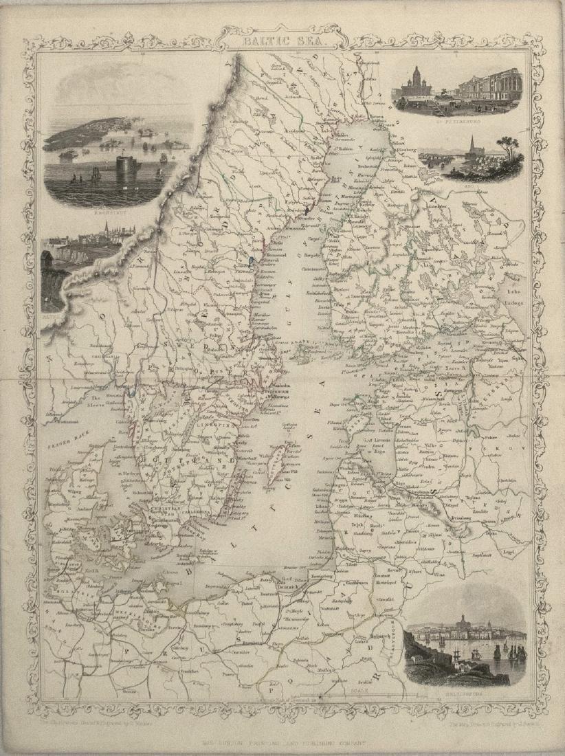 1851 Tallis Map of the Baltic Sea Region -- Baltic Sea