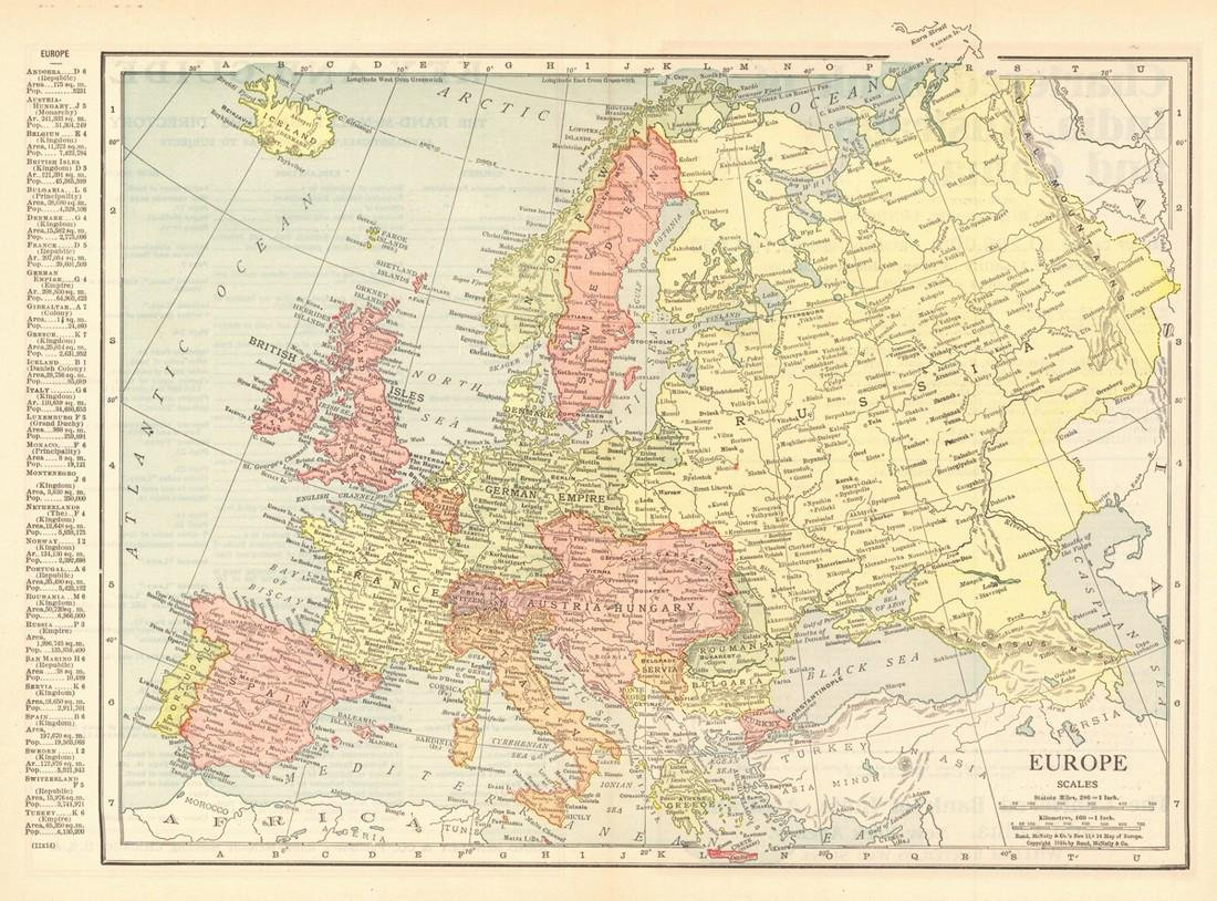 Europe Rand-Mcnally's New 11 X 14 Map of Europe.