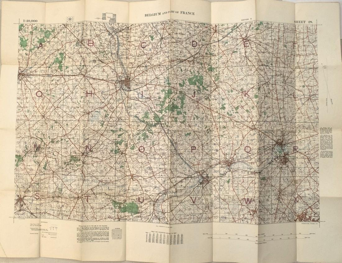 1917 British Military Map of Southwest Belgium and