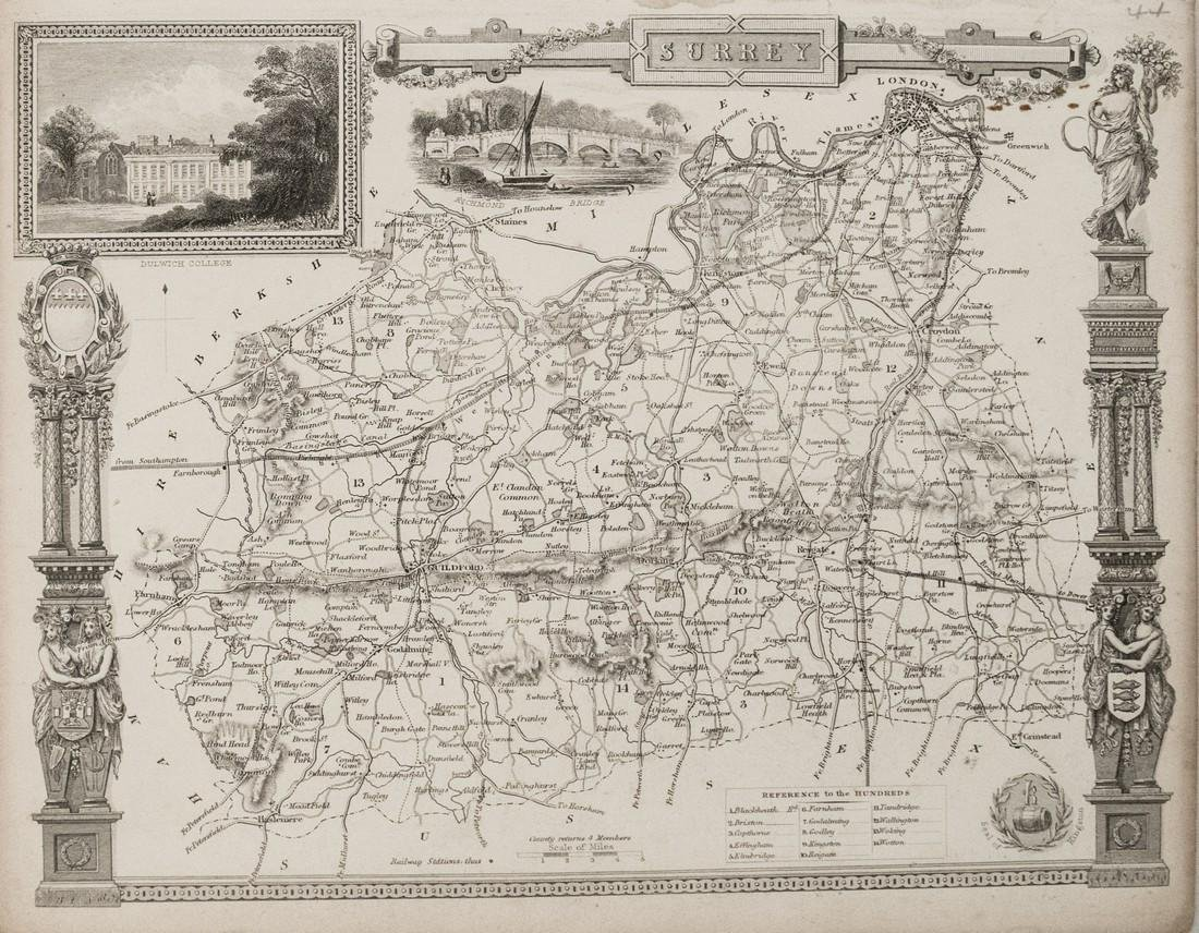1840 Moule Map of Surrey -- Surrey