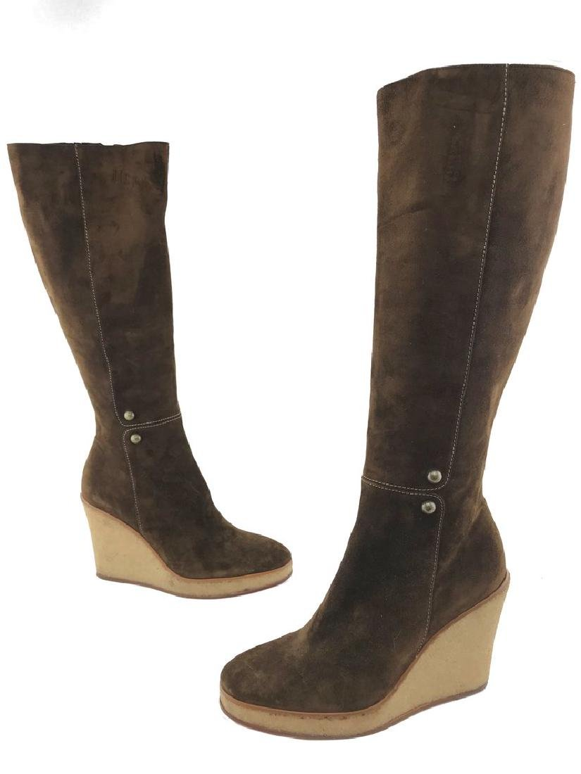 Christian Louboutin Suede Love Story Wedge Boots Size - 2