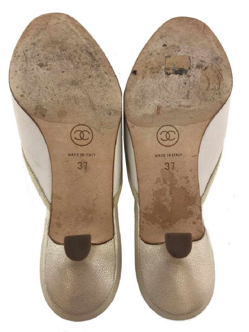 Chanel Leather Cap Toe Mules Size 7 - 5