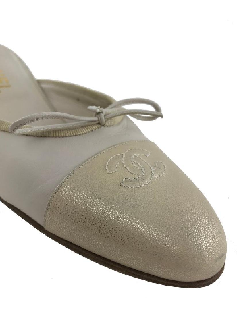 Chanel Leather Cap Toe Mules Size 7 - 7