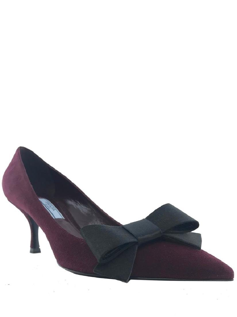 Prada Suede Point-Toe Bow Pump Size 8
