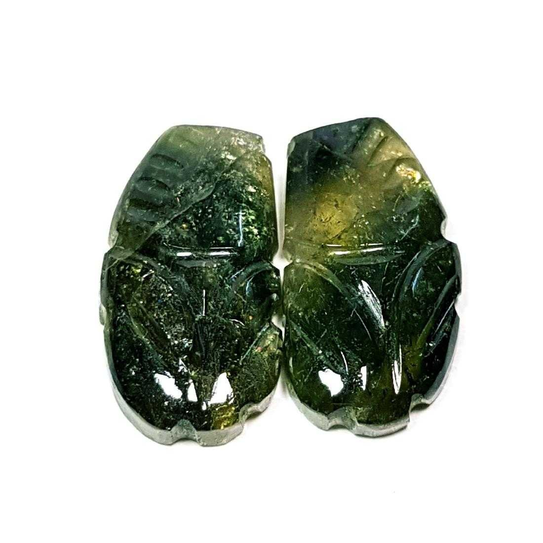 13.59 ct Pair of Bi Color Tourmaline Carving