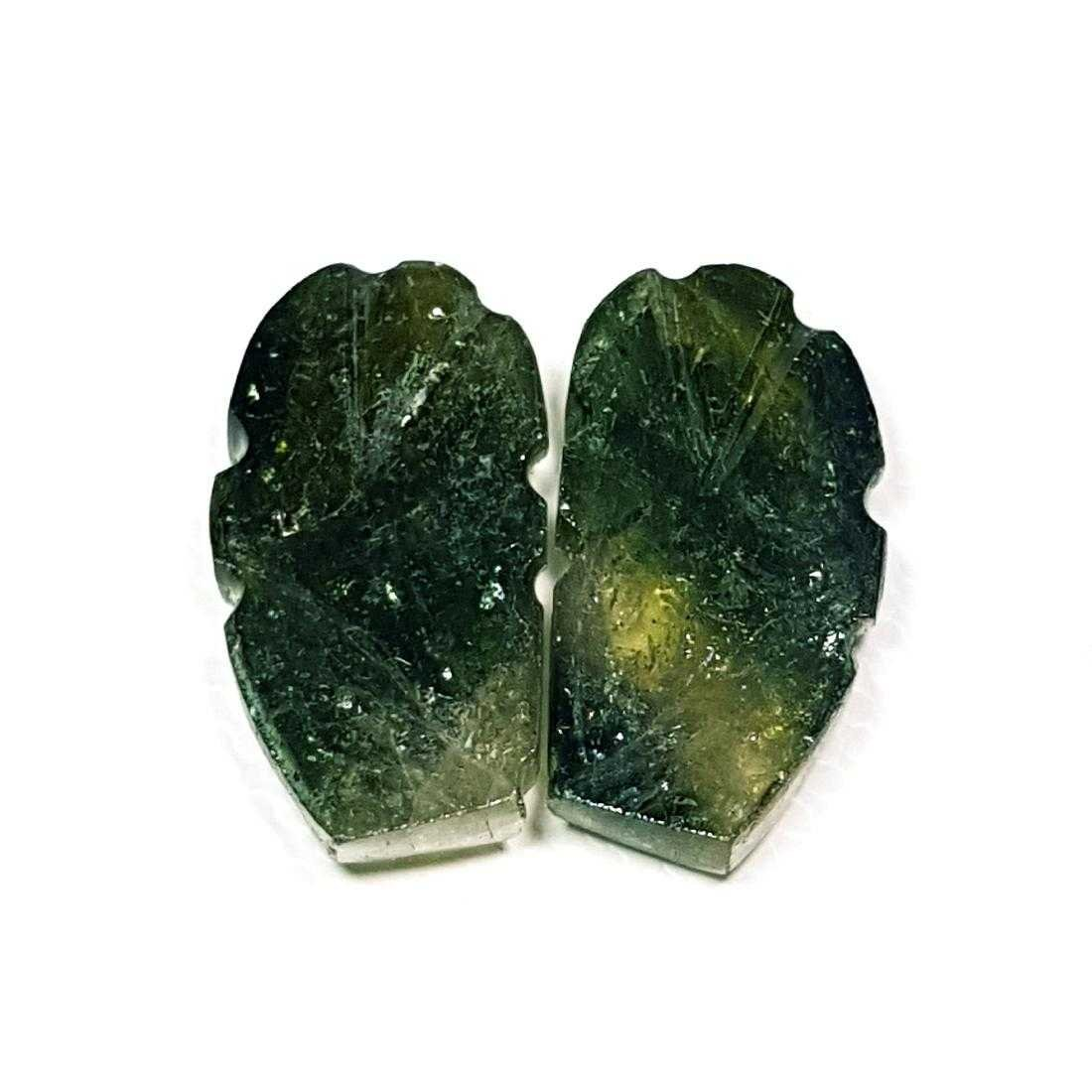 13.59 ct Pair of Bi Color Tourmaline Carving - 2