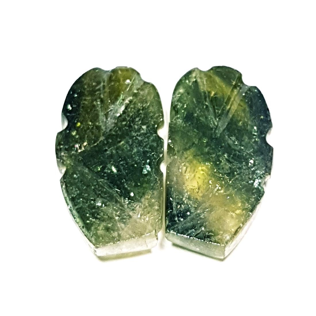 13.59 ct Pair of Bi Color Tourmaline Carving - 3