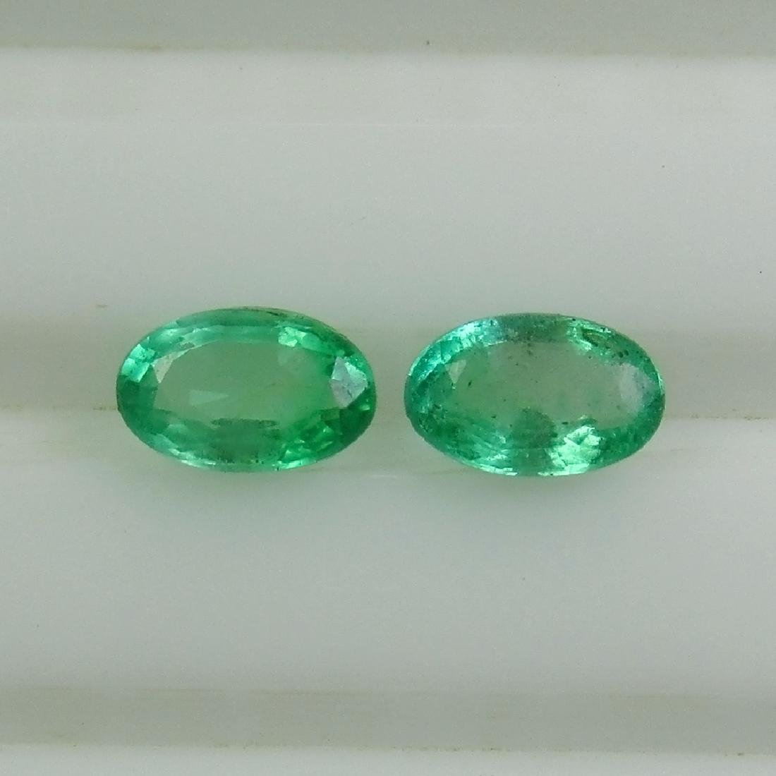 0.48 Ctw Natural Zambian Emerald Matching Oval Pair