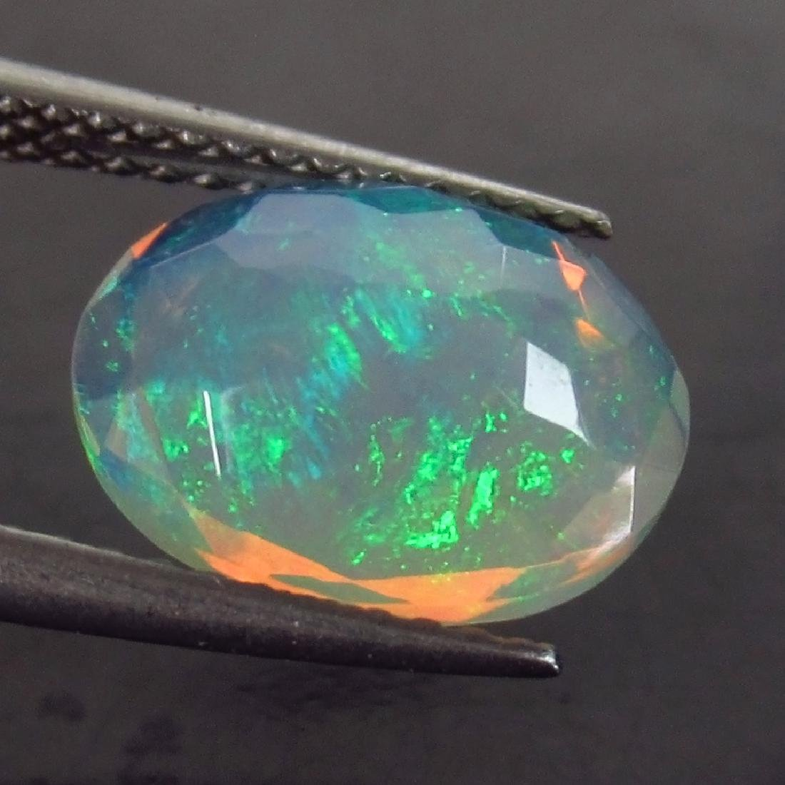 2.03 Ct Genuine Ethiopian Faceted Opal 11X8.5 mm Oval - 2