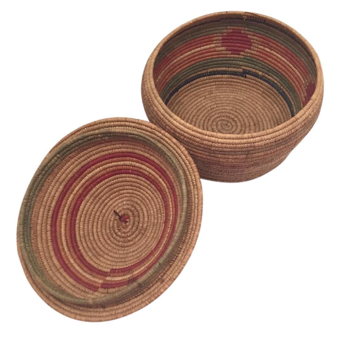 Northwest Coast Salish Lidded Coiled Basket