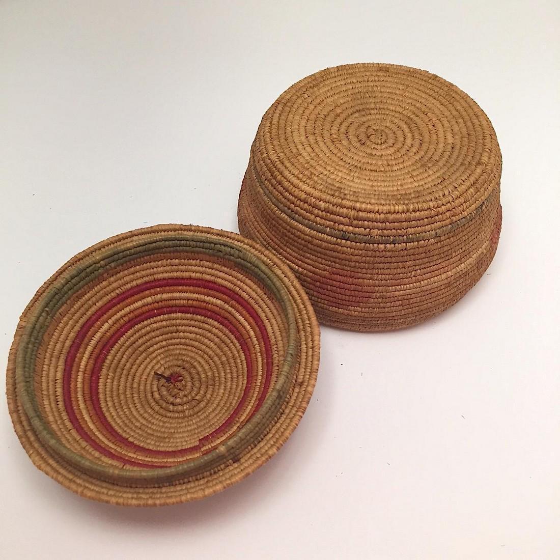 Northwest Coast Salish Lidded Coiled Basket - 2