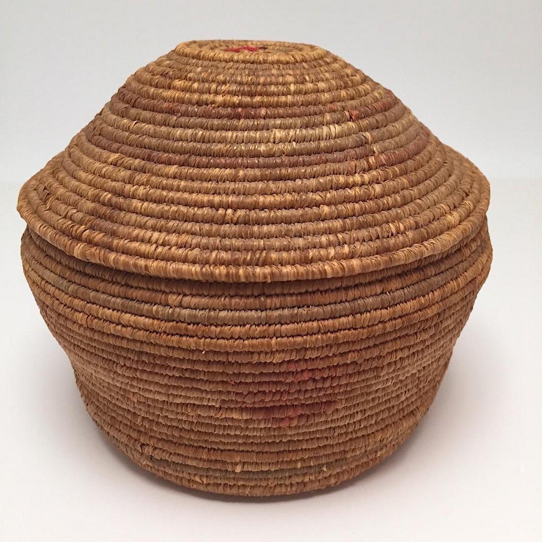 Northwest Coast Salish Lidded Coiled Basket - 8