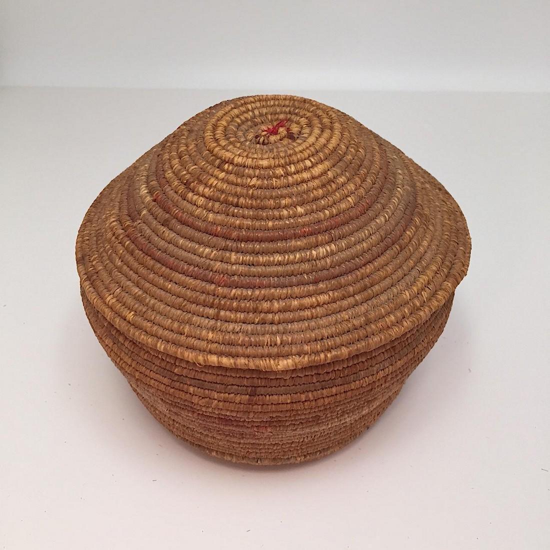 Northwest Coast Salish Lidded Coiled Basket - 9