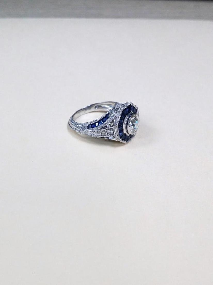 Vintage style diamond ring with 2.28ct of sapphire - 10