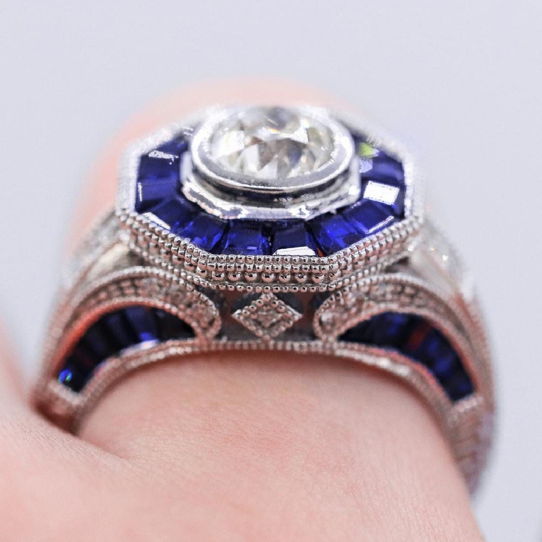 Vintage style diamond ring with 2.28ct of sapphire - 2