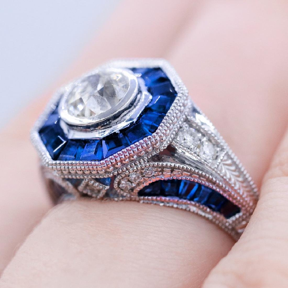 Vintage style diamond ring with 2.28ct of sapphire - 3