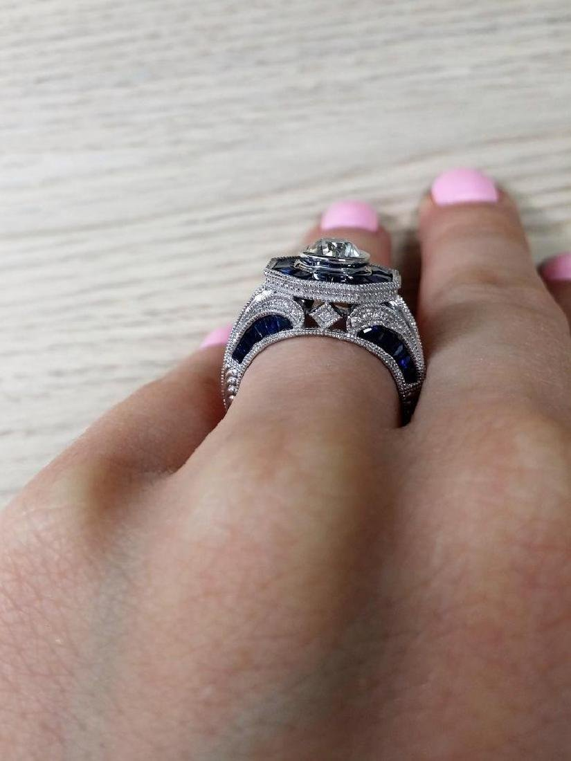 Vintage style diamond ring with 2.28ct of sapphire - 4