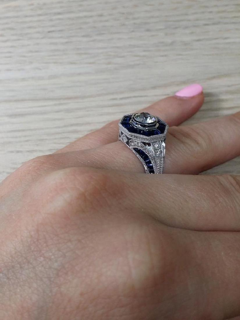 Vintage style diamond ring with 2.28ct of sapphire - 5