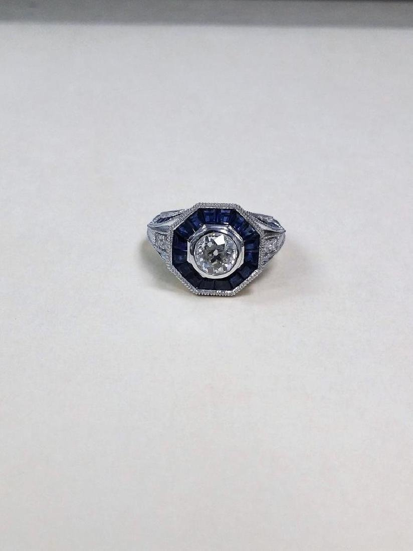 Vintage style diamond ring with 2.28ct of sapphire - 9