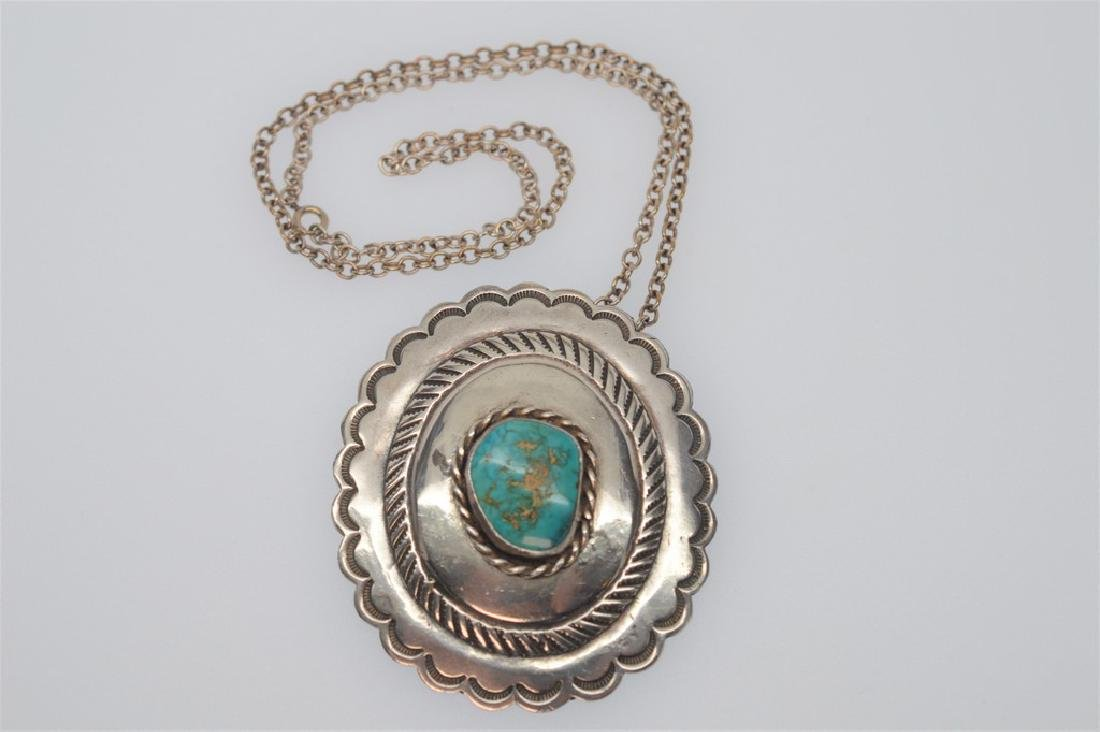 Southwest Sterling Silver Medallion Pendant with