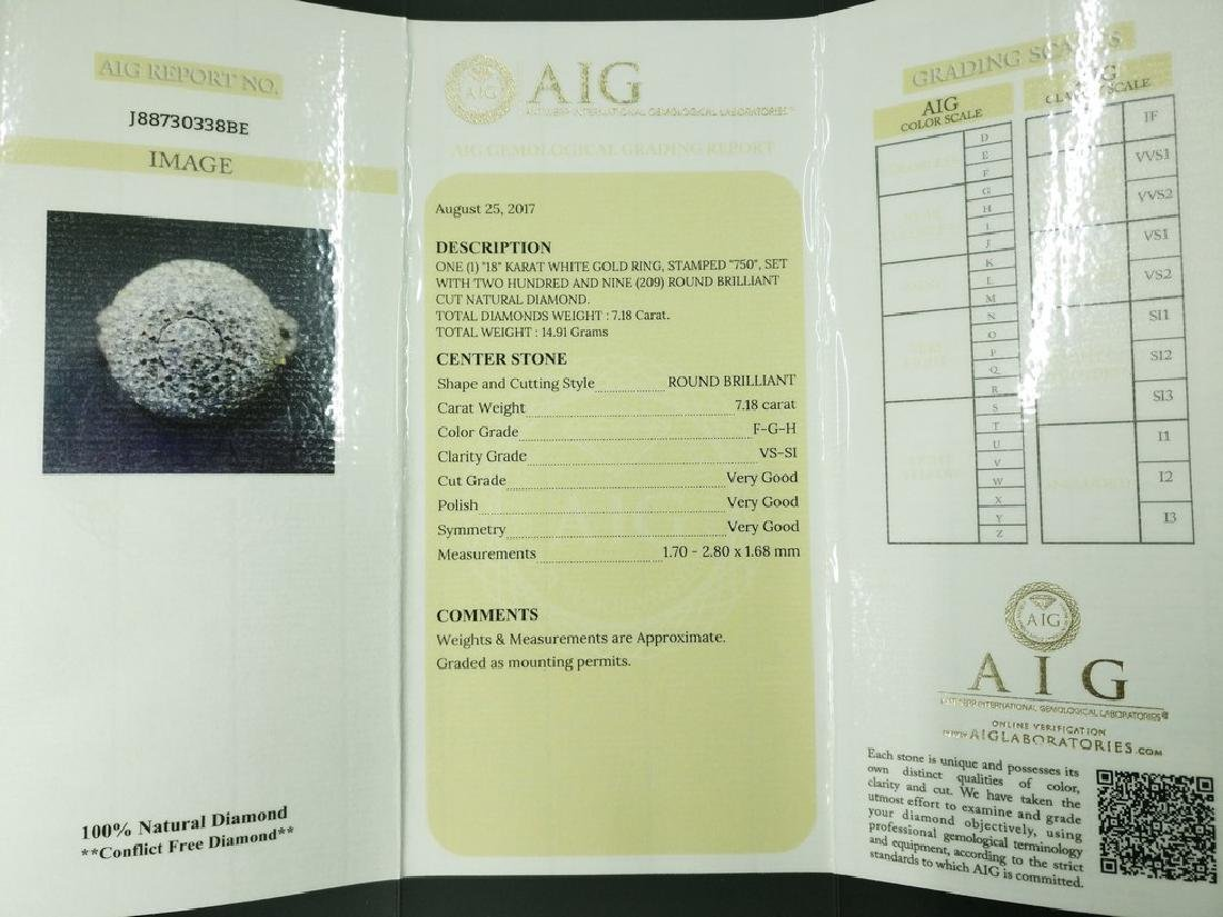 An 18K AIG Certified Diamond Ring 7.18 ct total - 4