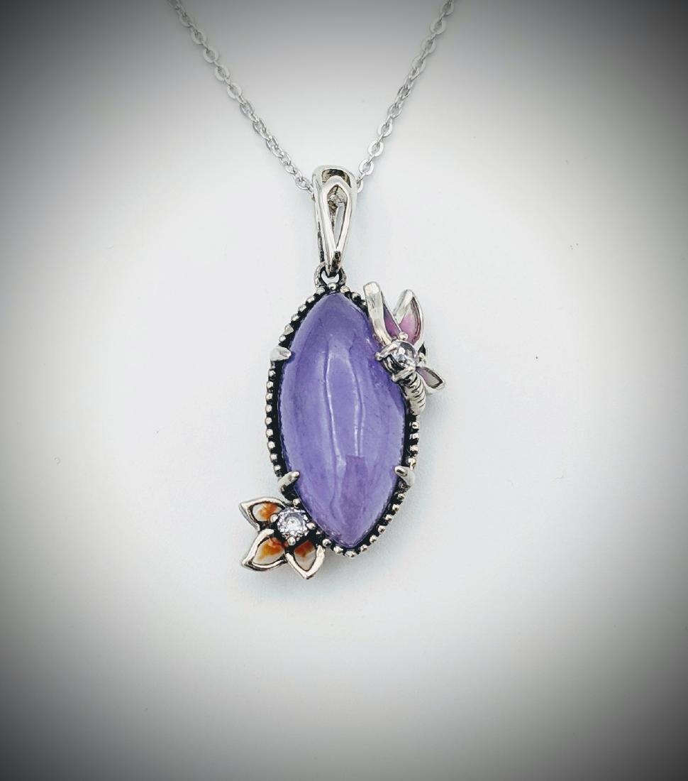 Necklace w Violet Jade, Multicolored Enamaling & CZ