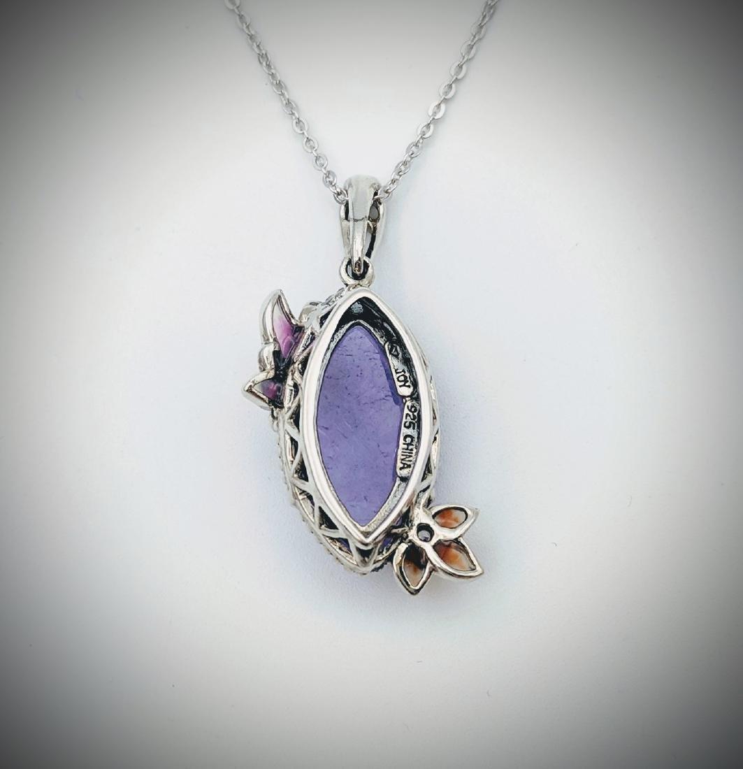 Necklace w Violet Jade, Multicolored Enamaling & CZ - 2