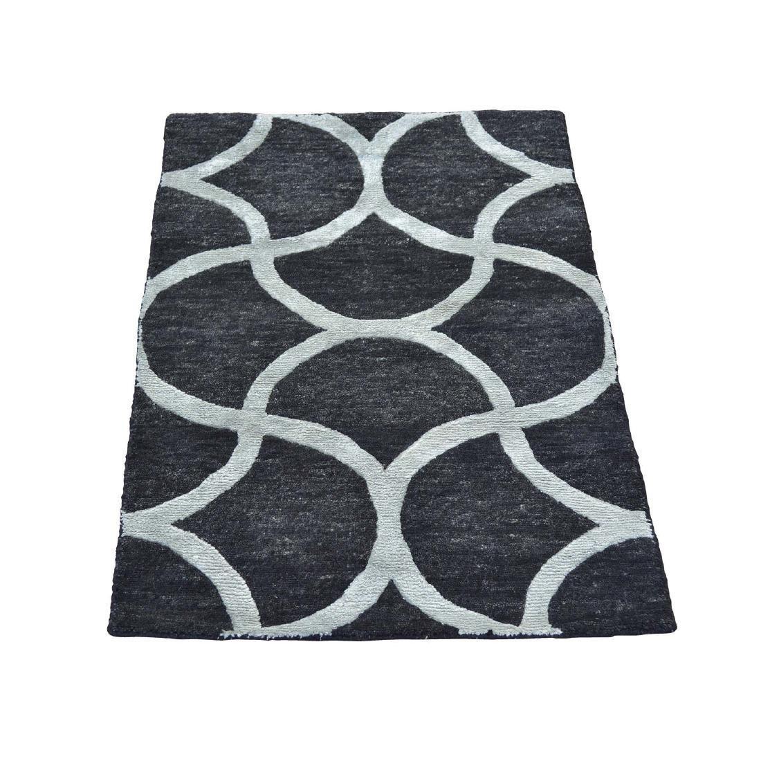 Black Modern Wool and Silk Sample Oriental Rug Hand