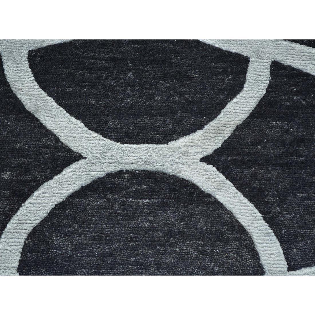 Black Modern Wool and Silk Sample Oriental Rug Hand - 2