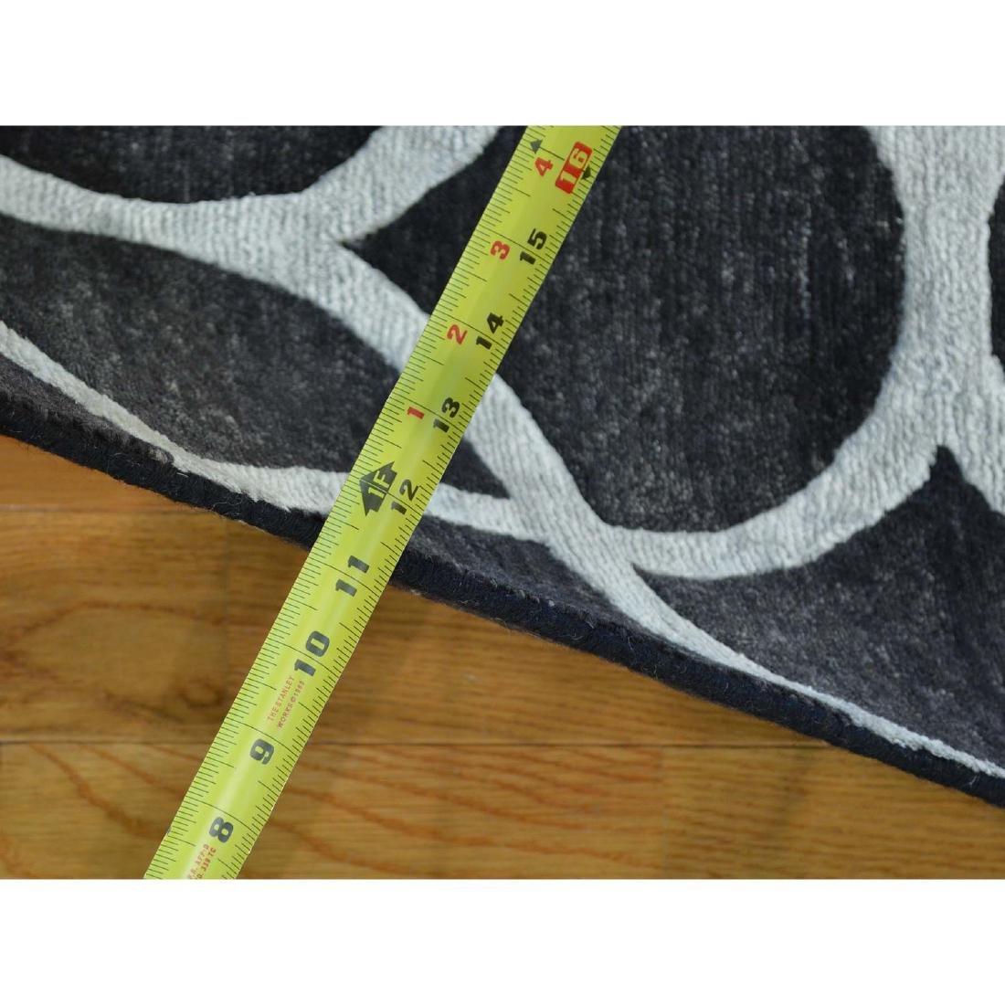 Black Modern Wool and Silk Sample Oriental Rug Hand - 3