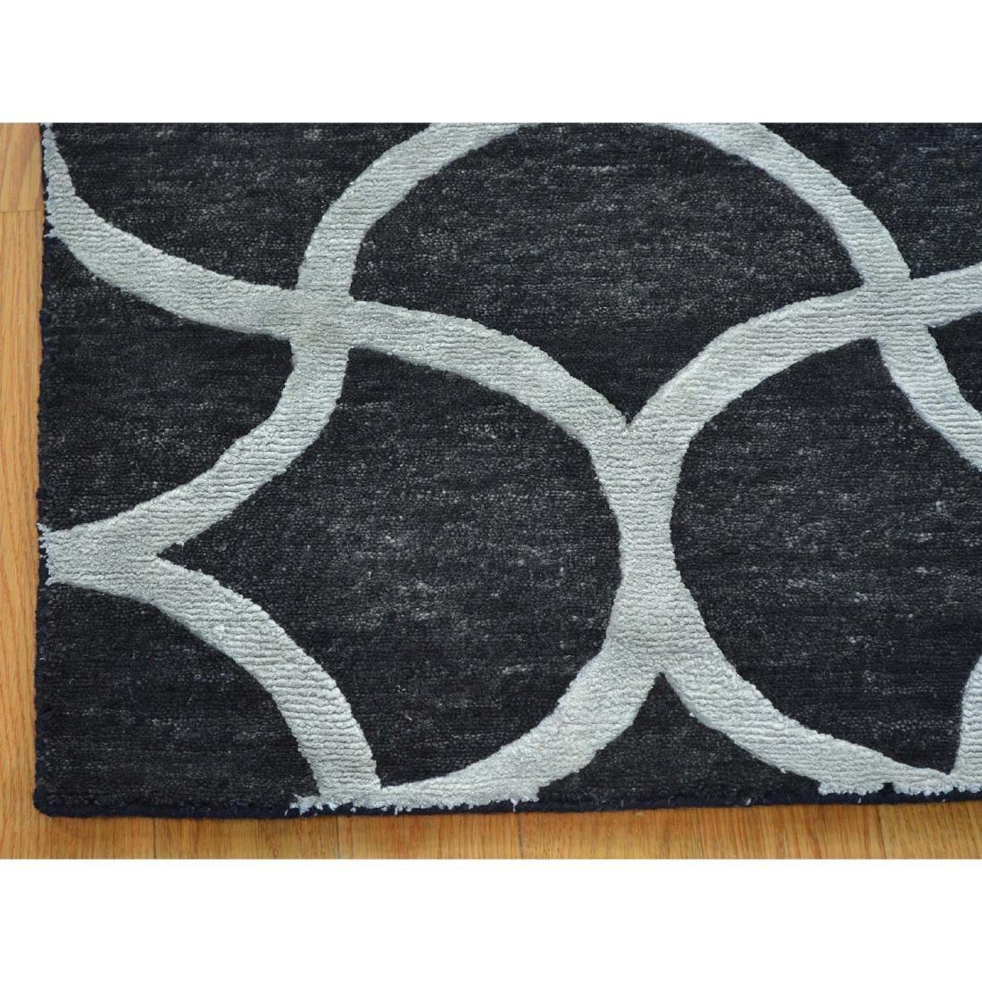 Black Modern Wool and Silk Sample Oriental Rug Hand - 4