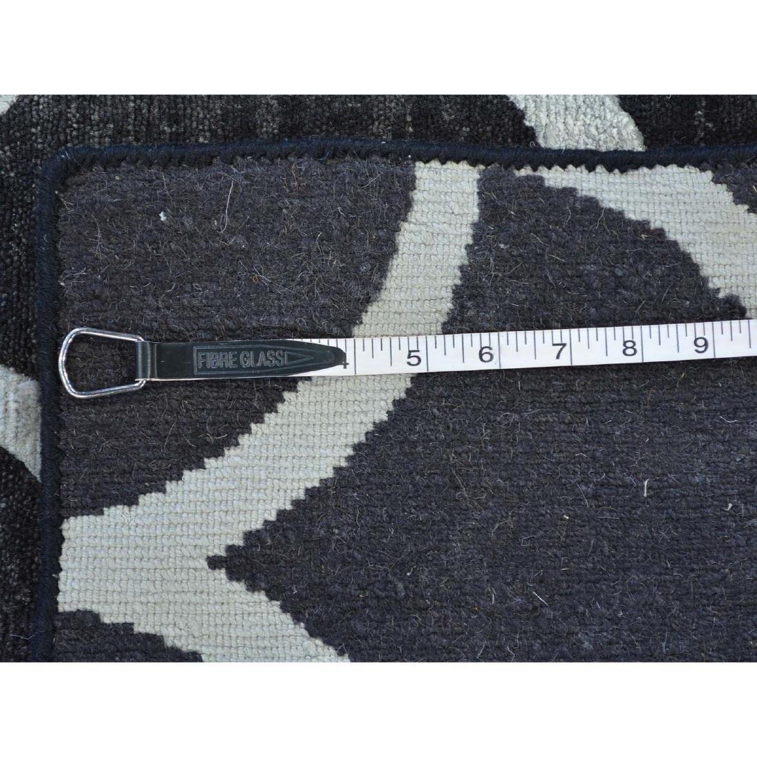 Black Modern Wool and Silk Sample Oriental Rug Hand - 5