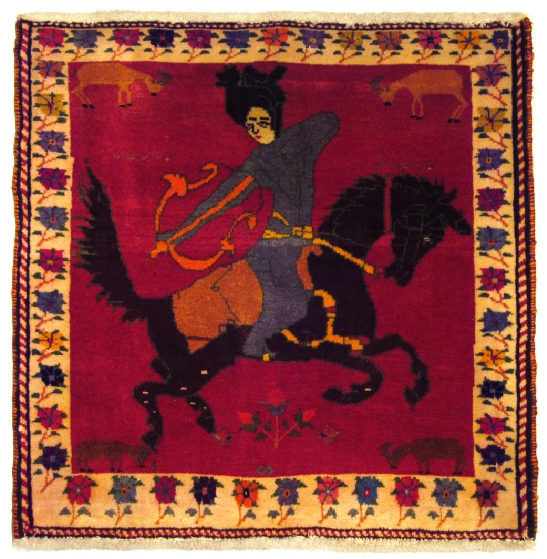 Rare Vintage Persian Gashghai Rug Tribal Hunting Design