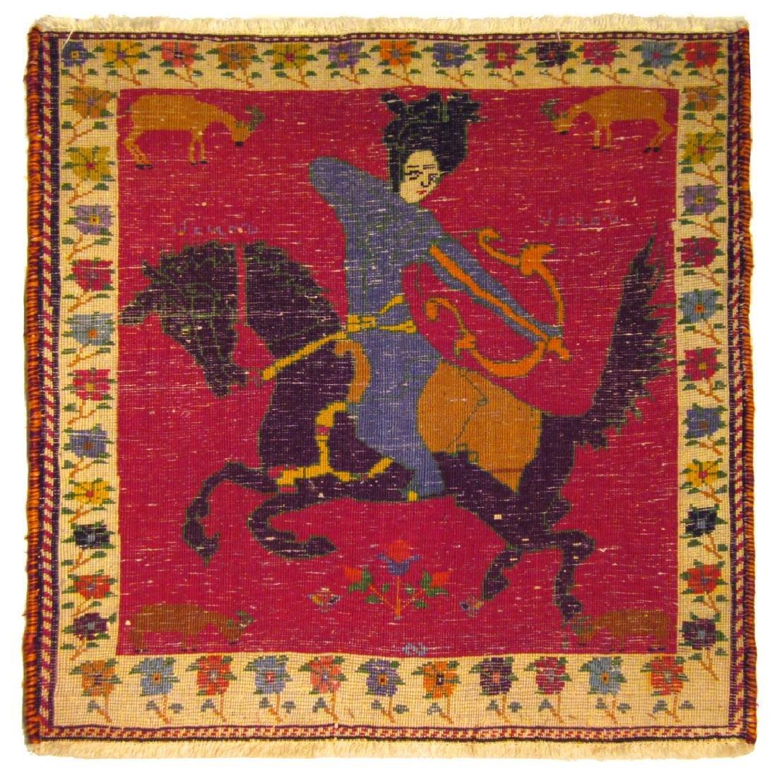 Rare Vintage Persian Gashghai Rug Tribal Hunting Design - 4