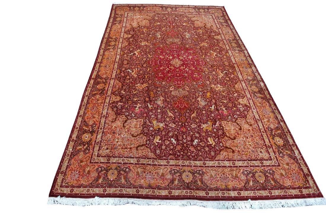 Exceptional Vintage Tabriz Rug Persian Hunting Fine