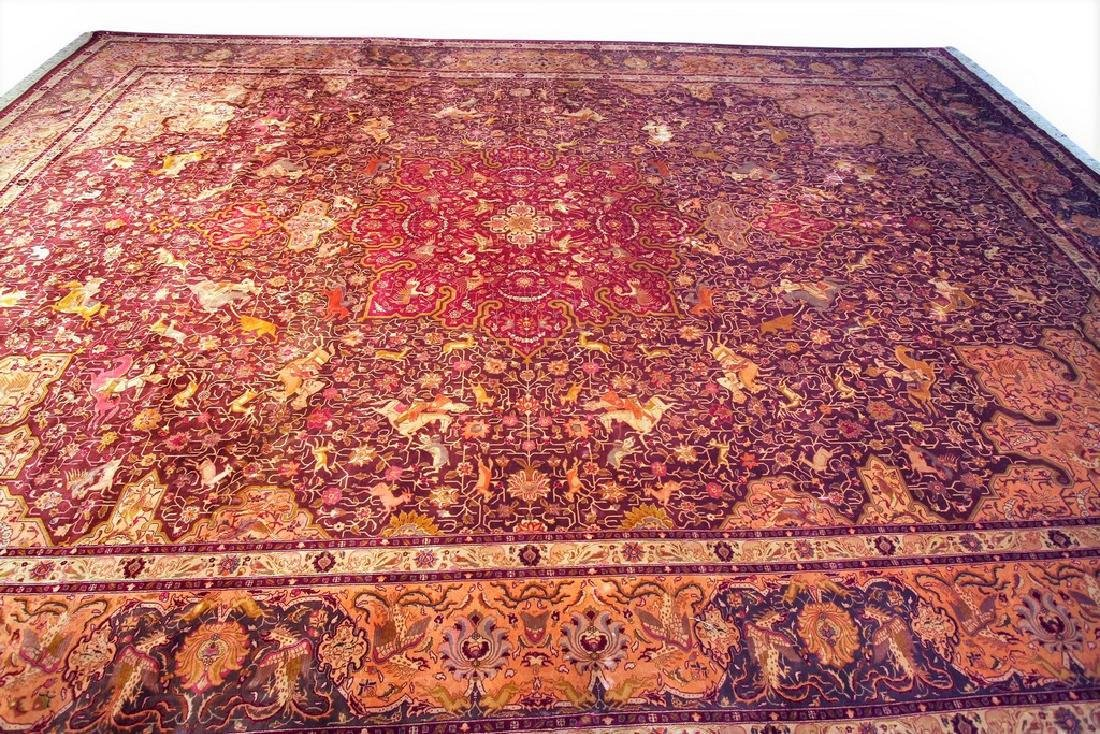 Exceptional Vintage Tabriz Rug Persian Hunting Fine - 2