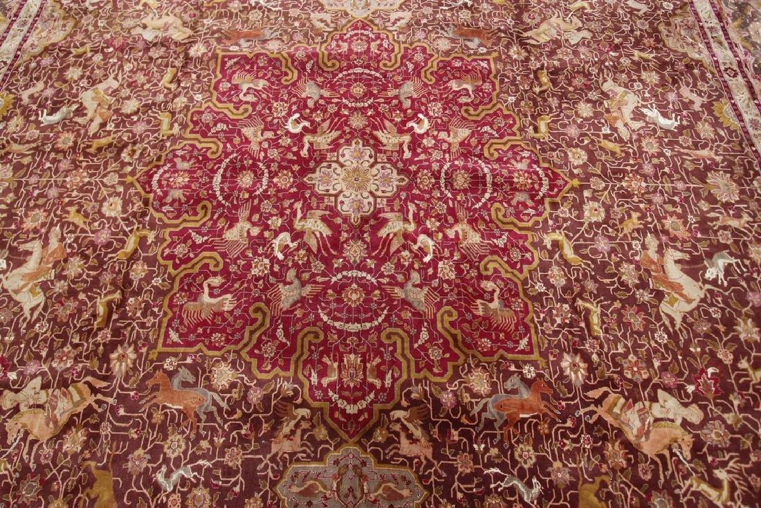 Exceptional Vintage Tabriz Rug Persian Hunting Fine - 3